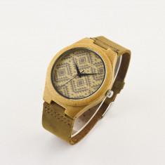 Ceas de Lemn Casual Wood Watch WD-1 Curea Piele Naturala Bambus Japan Movement - Ceas barbatesc, Quartz, Analog, Nou