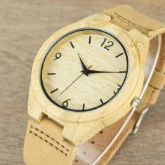Ceas de Lemn Casual Wood Watch WD-37 Curea Piele Naturala Bambus Japan Movement - Ceas barbatesc, Quartz, Analog, Nou