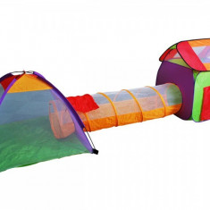 Cort de joaca tip tunel, 3 piese, 200 bile incluse - Casuta copii