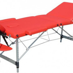 Masa de masaj portabila 3 zone, Pat masaj, rosie, aluminiu