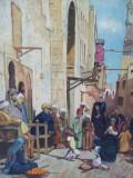Piata in orient , tablou  vechi in ulei pe panza lipita pe carton