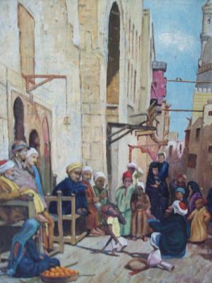 Piata in orient , tablou  vechi in ulei pe panza lipita pe carton foto
