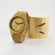 Ceas de Lemn Casual Wood Watch WD-4 Curea Piele Naturala Bambus Japan Movement - Ceas barbatesc, Quartz, Analog, Nou