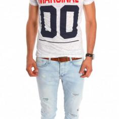 Tricou tip Zara alb - tricou barbati - tricou slim fit - 6800P1, Marime: S, M, L, XL, Culoare: Din imagine