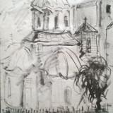 Biserica Bucuresti centrul vechi - Pictor roman, Peisaje, Cerneala, Impresionism
