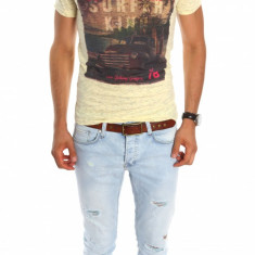 Tricou tip Zara galben - tricou barbati - tricou slim fit - 6786, Marime: XL, Culoare: Din imagine