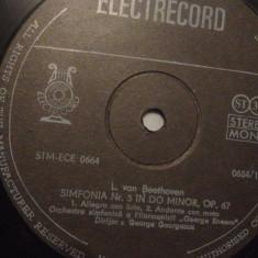 Beethoven - Simfonia 5 cu G.GEORGESCU(ECE 0664/ELECTRECORD) - Vinil /stare BUNA - Muzica Clasica