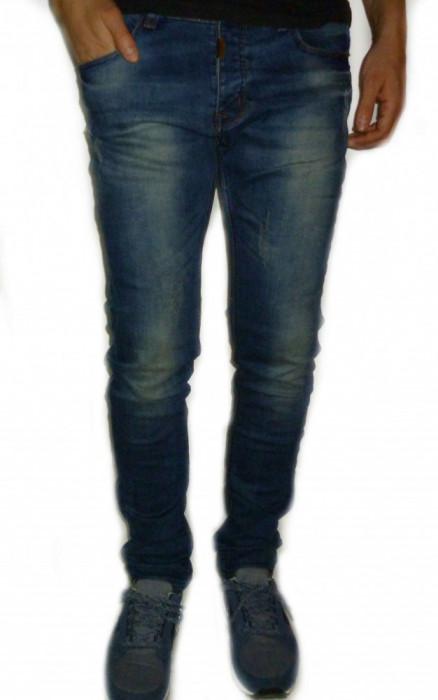 Blugi fashion - blugi barbati blugi conici blugi albastri cod 1