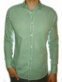 Camasa carouri - camasa verde camasa slim fit camasa fashion cod 17, L, XXL, Maneca lunga, Din imagine