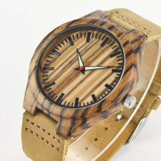 Ceas de Lemn Casual Wood Watch WD-39 Curea Piele Naturala Bambus Japan Movement