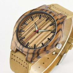 Ceas de Lemn Casual Wood Watch WD-39 Curea Piele Naturala Bambus Japan Movement - Ceas barbatesc, Quartz, Analog, Nou