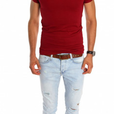 Tricou tip Zara grena - tricou barbati - tricou slim fit - 6773, Marime: M, XL, Culoare: Din imagine