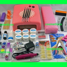 Kit complet set unghii false 6 geluri constructie  lampa uv freza|ULTRA, Sina