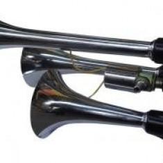 Claxon auto BestAutoVest 12v 300 + 230 + 170 mm set 3 trompete, crom, fara compresor
