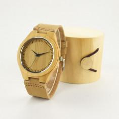 Ceas de Lemn Casual Wood Watch WD-5 Curea Piele Naturala Bambus Japan Movement - Ceas barbatesc, Quartz, Analog, Nou