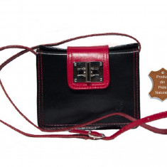 Geanta piele naturala mini neagra rosie casual Emily - import Italia - Geanta Dama, Culoare: Din imagine, Marime: Masura unica, Geanta de umar