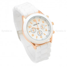 Ceas Geneva Color Style white - Ceas dama Geneva, Fashion, Quartz, Otel, Silicon, Analog