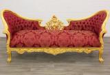 SOFA DIN LEMN MASIV  AURIU  CU TAPISERIE ROSIE, Sufragerii si mobilier salon, Baroc