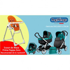 Carucior 3 in 1 Book Plus 51 Black White POP-UP + Scaun de Masa PROMO Aquamarine - Carucior copii 2 in 1 Peg Perego
