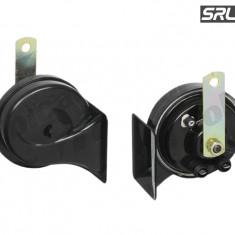 Set 2 claxoane auto SRLine 12V/420+510Hz tip goarna cu conectori 2x(6, 3-0, 8) - Claxon