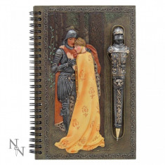 Set agendă cu pix cu simboluri medievale Cavalerul și domnița