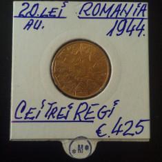 20 lei 1944 - CEI TREI REGI - ARDEALUL NOSTRU - Moneda Romania, Aur
