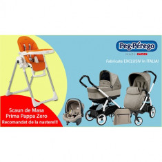 Carucior 3 in 1 Book Plus 51 Black White POP-UP + Scaun de Masa PROMO Cream - Carucior copii 2 in 1 Peg Perego