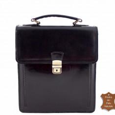 Geanta neagra barbat piele naturala mini servieta office business - imp Italia - Geanta Barbati, Marime: Masura unica, Culoare: Negru