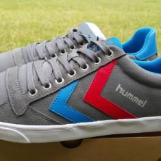 43,44_Adidasi originali barbati HUMMEL_din panza_cu piele_gri_in cutie, Gri, Piele naturala, Hummel
