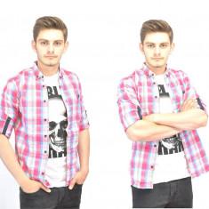 Camasa carouri barbati - bleu cu roz - slim fit - casual - fashion - Camasa barbati, Marime: L, Culoare: Din imagine, Maneca lunga