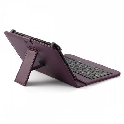 Husa Tableta 7 Inch Cu Tastatura Micro Usb Model X , Mov , Tip Mapa  C2 foto
