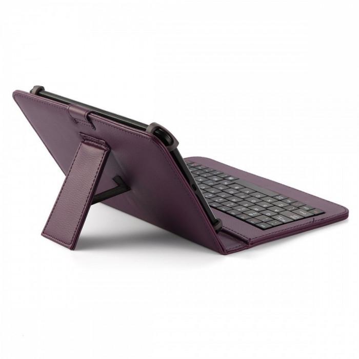 Husa Tableta 7 Inch Cu Tastatura Micro Usb Model X , Mov , Tip Mapa  C2