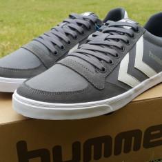 43, 44_Adidasi originali barbati HUMMEL_din panza_cu piele_gri_in cutie - Adidasi barbati Hummel, Piele naturala