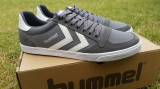 43,44_Adidasi originali barbati HUMMEL_din panza_cu piele_gri_in cutie, 44, Gri, Piele naturala, Hummel