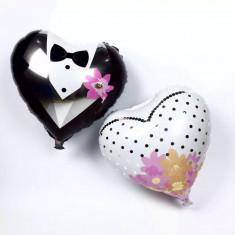 Set Baloane folie Mire+Mireasa inimioara 45 cm - Baloane copii Altele