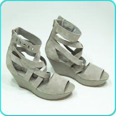 DE CALITATE → Sandale dama, DIN PIELE, aerisite, frumoase, ROOTS → femei | nr 39, Culoare: Gri, Piele naturala