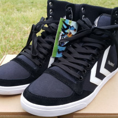 39_Adidasi originali HUMMEL_panza_adidasi inalti unisex_cu piele_negru_in cutie - Adidasi barbati Hummel, Piele naturala