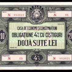 ROMANIA, OBLIGATIUNE CEC 200 LEI, XF+_AUNC; transa I, mai raruta - Cambie si Cec