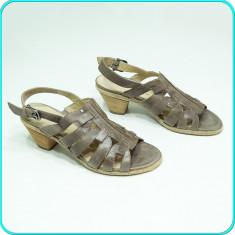 NOI, DE FIRMA → Sandale dama, DIN PIELE, comode, calitate ARA → femei | nr. 41, Culoare: Gri, Piele naturala