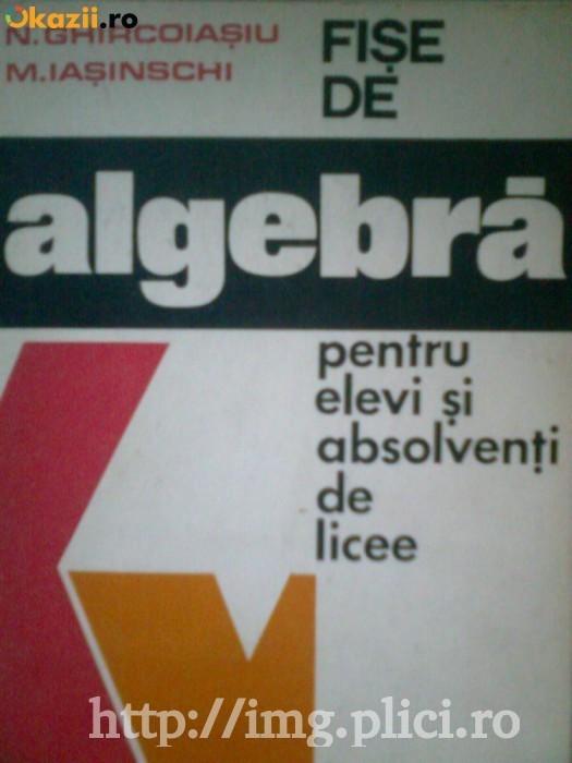 N. Ghircoiasu, M. Iasinschi - Fise de algebra pentru elevi si absolventi de licee foto mare