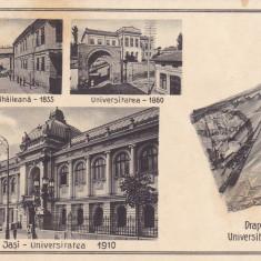 IASI, ACADEMIA MIHAILEANA-1835, UNIVERSITATEA 1860, DRAPELUL UNIVERSITATII 1860 - Carte Postala Moldova 1904-1918, Stare: Circulata, Tip: Printata