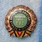 V- Insigna scoala de ofiteri tehnici artilerie, promotia 1955! rarut, Romania, Europa