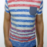 Tricou - tricou dungi tricou barbat tricou slim fit tricou vara cod 5 - Tricou barbati, Marime: L, XL, Culoare: Din imagine, Maneca scurta