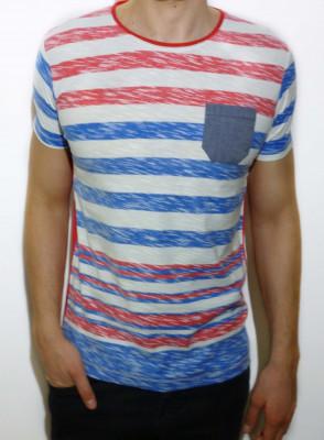 Tricou - tricou dungi tricou barbat tricou slim fit tricou vara cod 5 foto