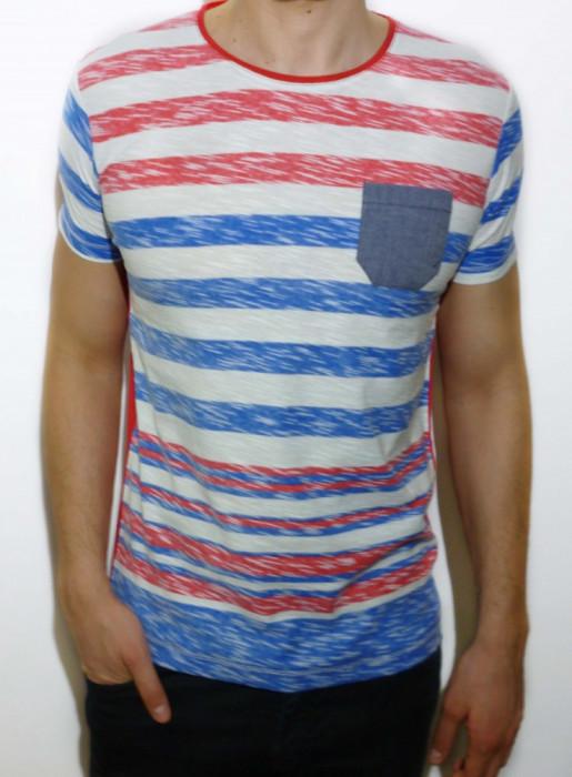 Tricou - tricou dungi tricou barbat tricou slim fit tricou vara cod 5