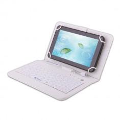 Husa Tableta 7 Inch Cu Tastatura Micro Usb Model X , Alb , Tip Mapa   C4