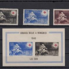 ROMANIA 1943, LP 151, LP 152, CRUCEA ROSIE, SERIE SI COLITA MNH, LOT 0 RO - Timbre Romania, Nestampilat
