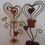 Suport lumanare - forma inima (culoare: alb) - suport lumanari