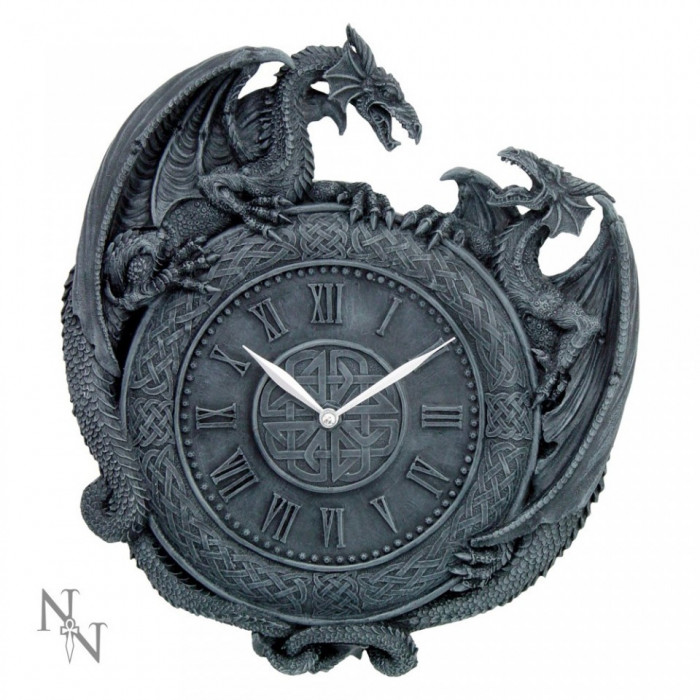 Ceas de perete gotic Duelul dragonilor foto mare