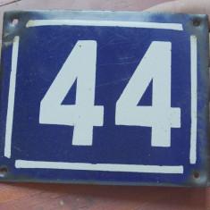 Vintage - placa din tabla emailata / numar de casa - 44 !!!! - Metal/Fonta